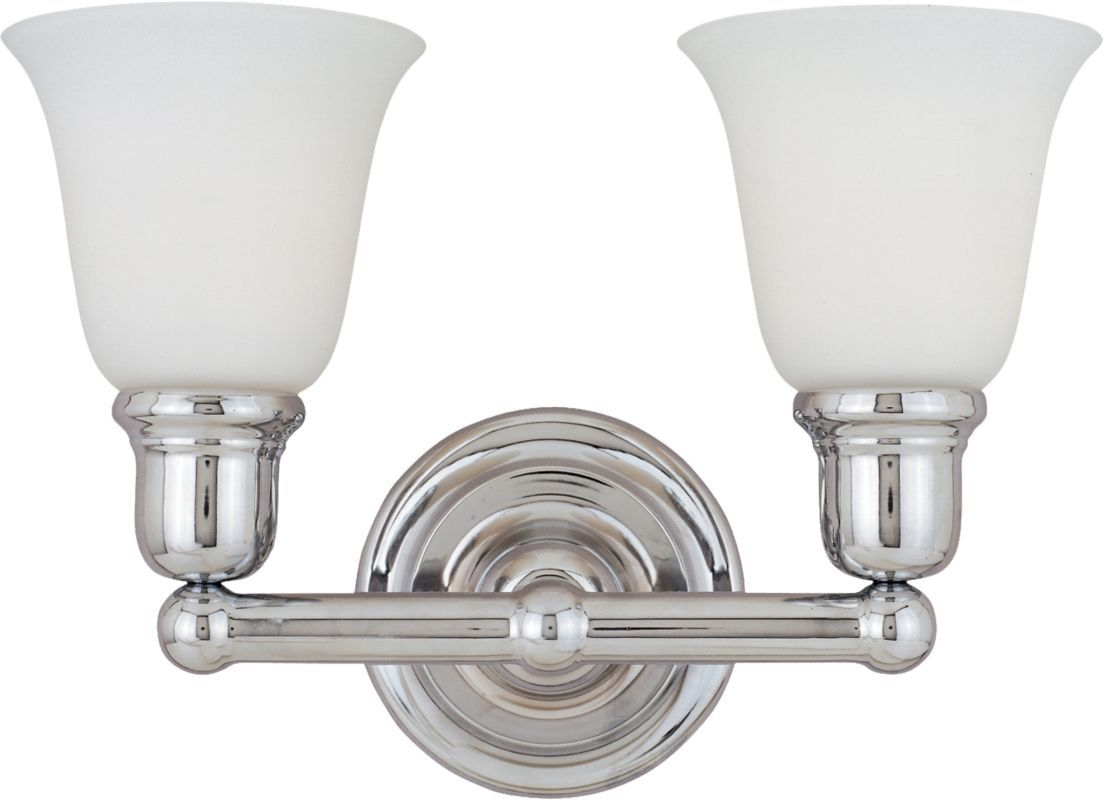 "Maxim 11087 2 Light 15.5"" Wide Bathroom Fixture from the Bel Air Collection Polished Chrome / White Glass Indoor Lighting Bathroom Fixtures Vanity"