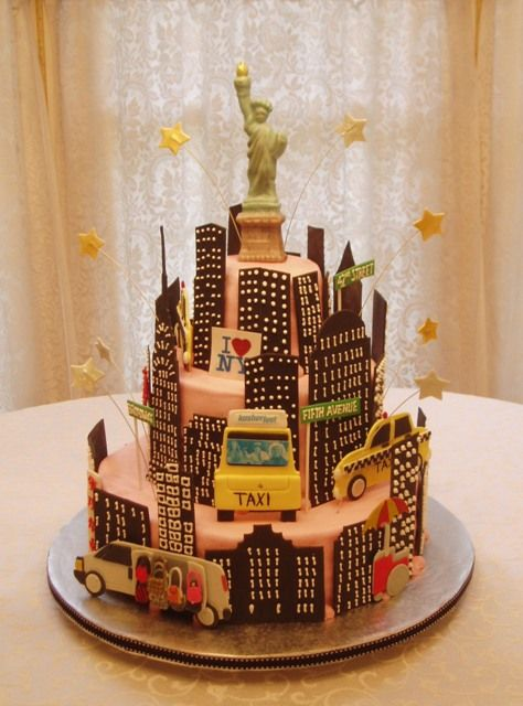 Marvelous New York City Sightseeing Cake With Images New York Cake Nyc Birthday Cards Printable Riciscafe Filternl