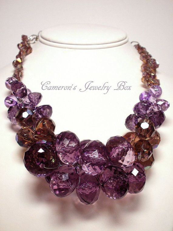 Purple Chunky Necklace, Statement Necklace, Wire Crochet, Purple ...