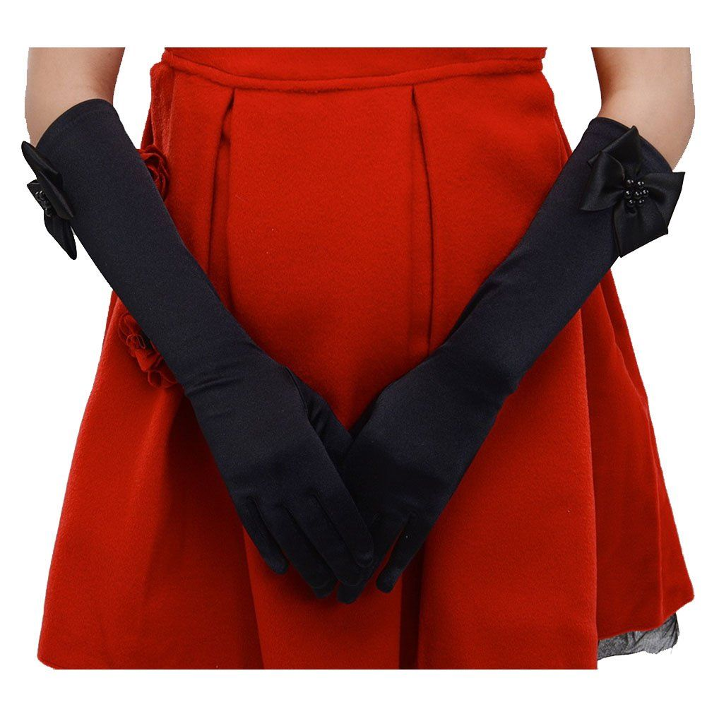 kids Special Occasion Gloves CL Kids Little Girls Cute Princess Stretch Satin Finger Party Dress Gloves  for Party Special Occasion Gloves Girls