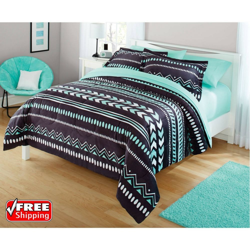 Comforter Set Full Queen Tribal Bedding Soft Plush Grey Mint Green