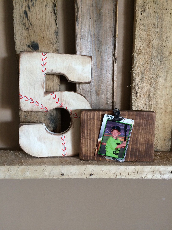 Vintage baseball number, baseball monogram, boys room decor, baseball decor, wood frame