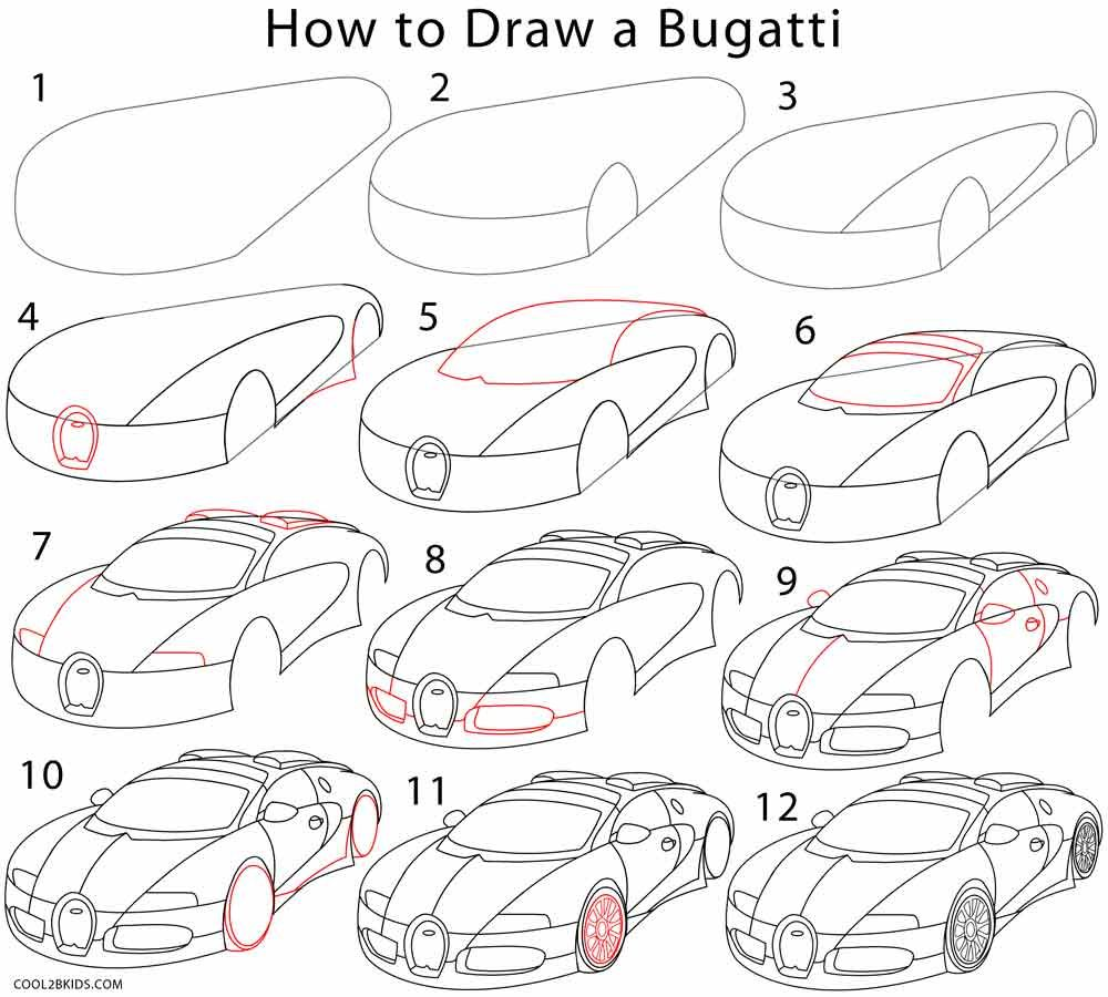 How To Draw A Bugatti Step By Step Drawing Tutorial Car Drawing Pencil Car Drawings