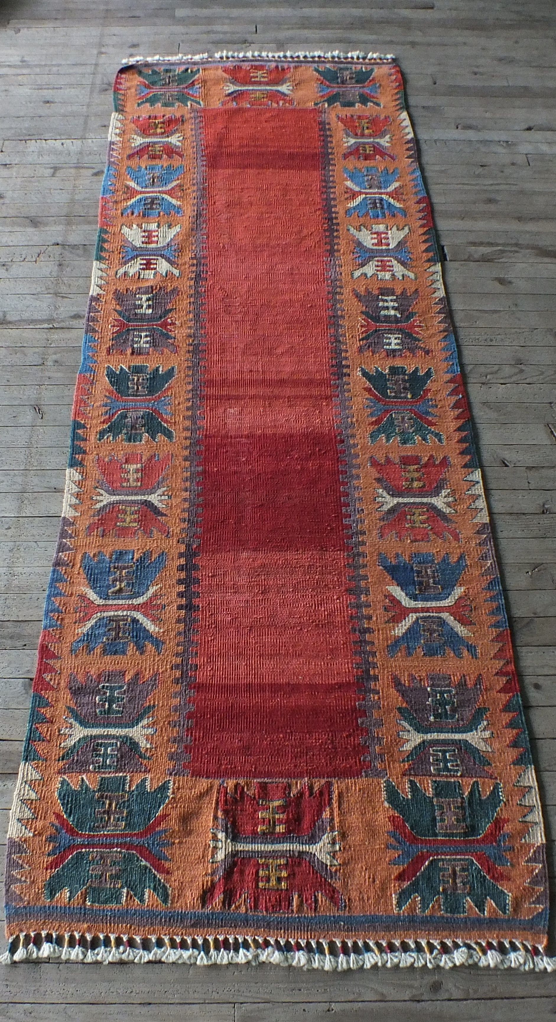 Hallway Runner Vintage Kilim Short Rug Orange Red
