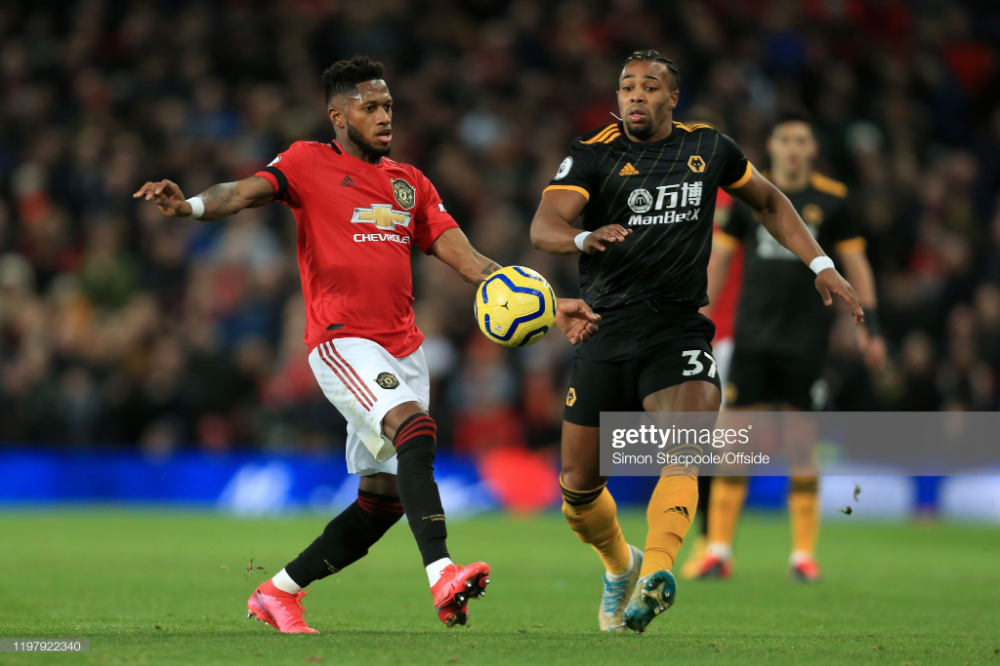 Fred Of Man Utd Battles With Adama Traore Of Wolves During The Battle Video Site Documentaries