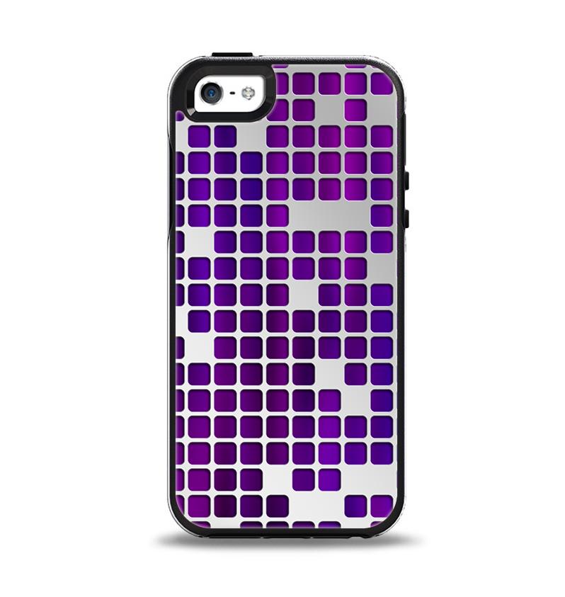 The Dark Purple Squares Pattern Apple iPhone 5-5s Otterbox Symmetry Case Skin Set