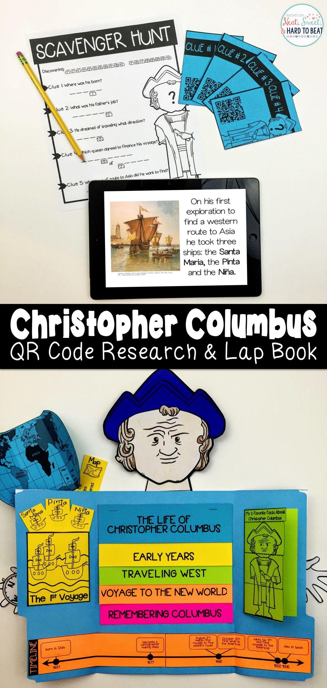 Christopher Columbus Qr Code Scavenger Hunt Amp Research Lap Book With Flip Book