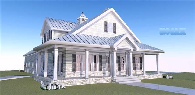 Horse barn w living quarters wrap around porch stone and for Barn house plans with porches
