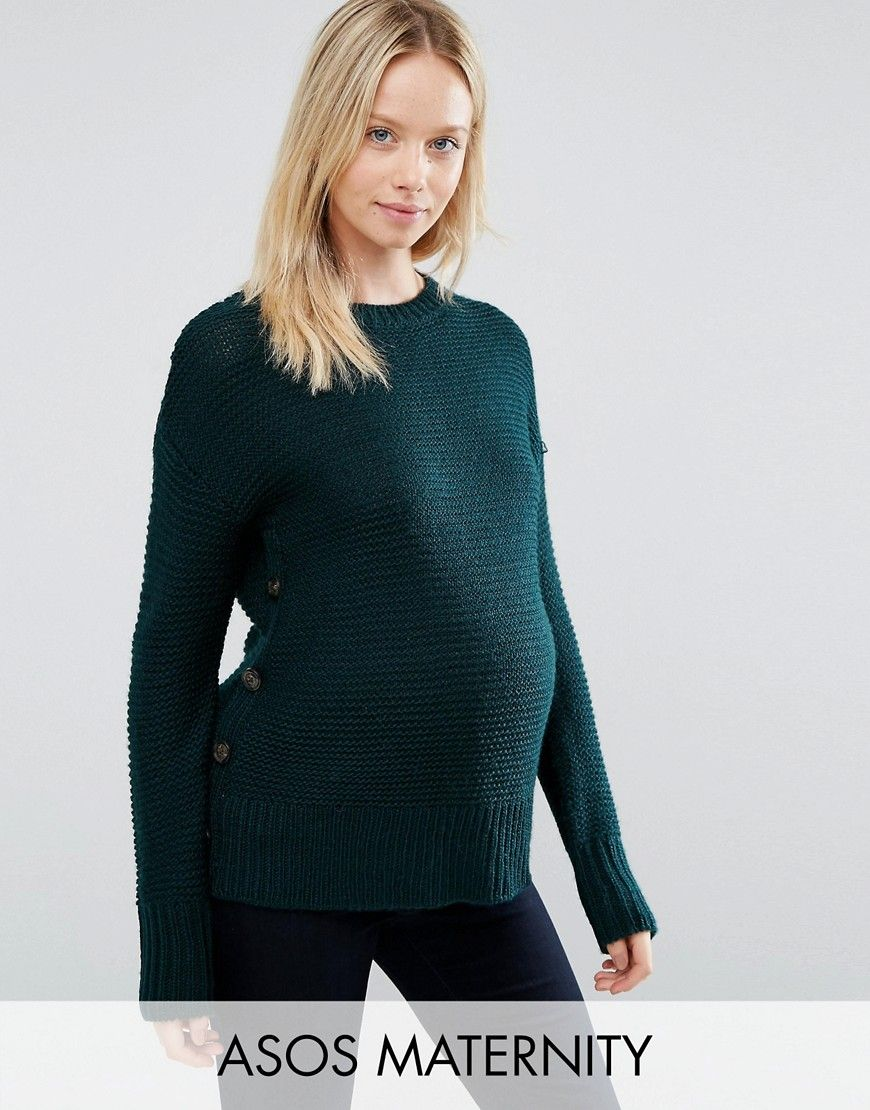 4503c24fd1010 ASOS Maternity Jumper In Wool Mix With Button Detail | ML ...