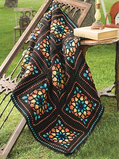 Stained Glass Afghan Crochet Pattern Crochet Square Blanket