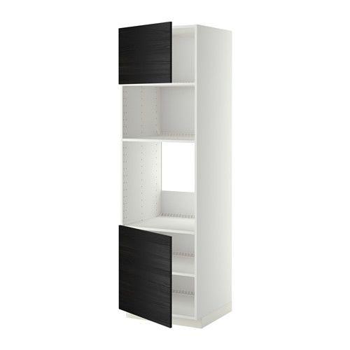 METOD HS f Ofen/Mikro m 2 Türen/Böden - weiß, Tingsryd Holzeffekt schwarz, 60x60x200 cm - IKEA