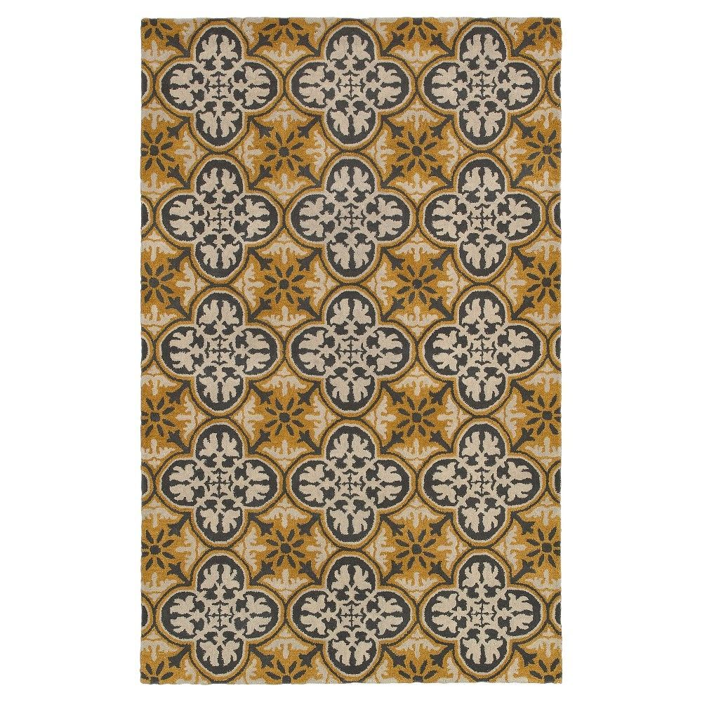 Rizzy Home Opus Collection 100% Wool Hand-Tufted Rug, Gray Gold