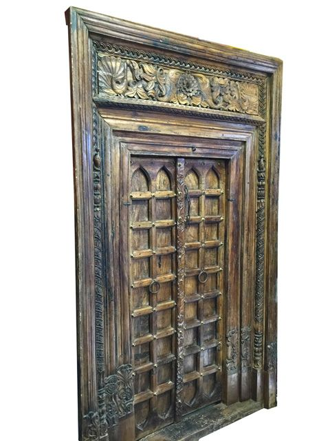 India Antique Doors With Frame Architectural Arch Wooden