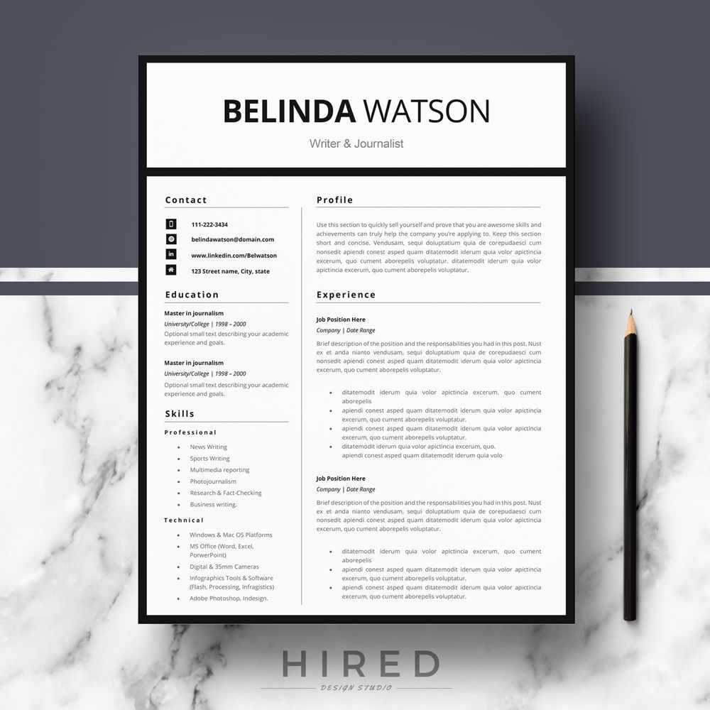 Resume Template and Cover Letter + References Template for