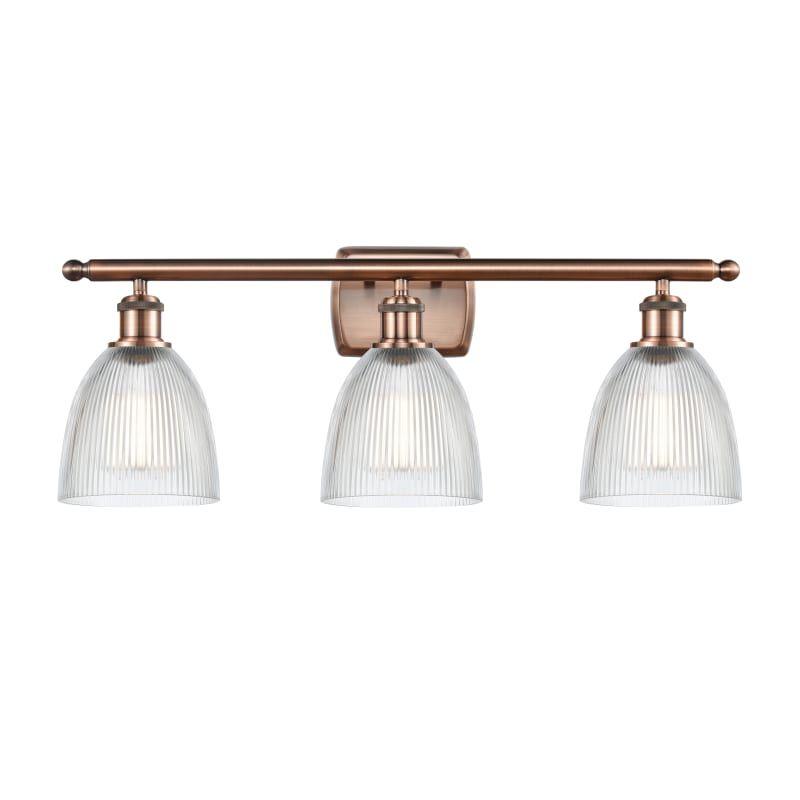 "Photo of Innovations lighting 516-3W Castile Castile 3 light 26 ""wide bathroom Vanity Lig Antique copper / clear interior lighting bathroom fittings Vanity Light"