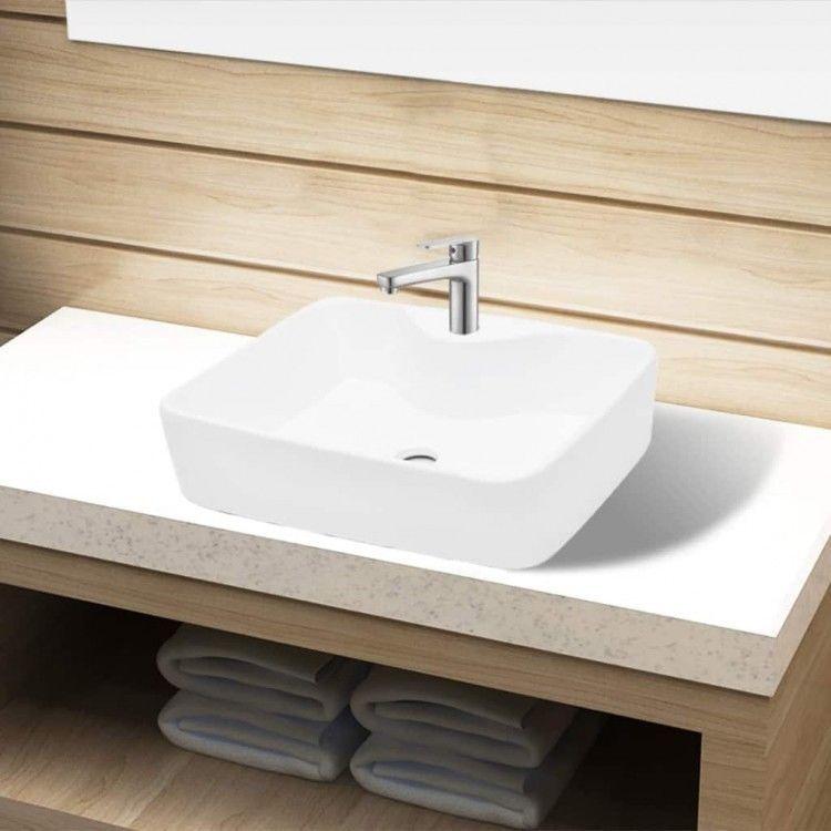 Ceramic Bathroom Sink Basin White Faucet Hole Washroom Overflow Bowl Pan Vessel Ceramic Bathroom Sink Bathroom Sink Sink