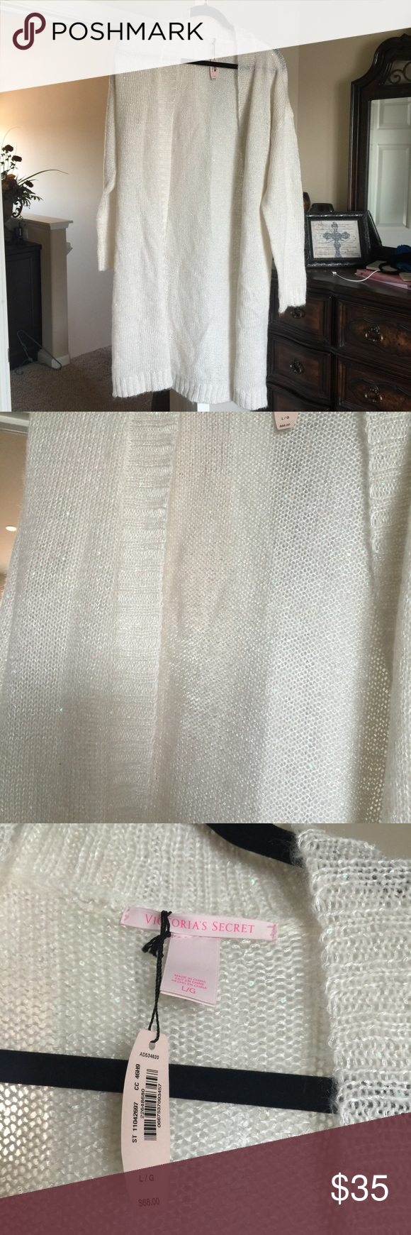 Victoria's Secret cardigan Large off white Cardigan. Has small sequence seen throughout Victoria's Secret Sweaters Cardigans