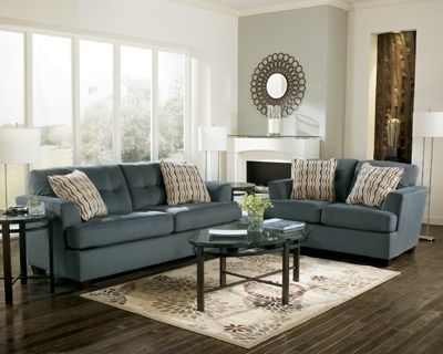 Best Dallas Steel Blue Couch Couch 455 Loveseat 416 Park 640 x 480