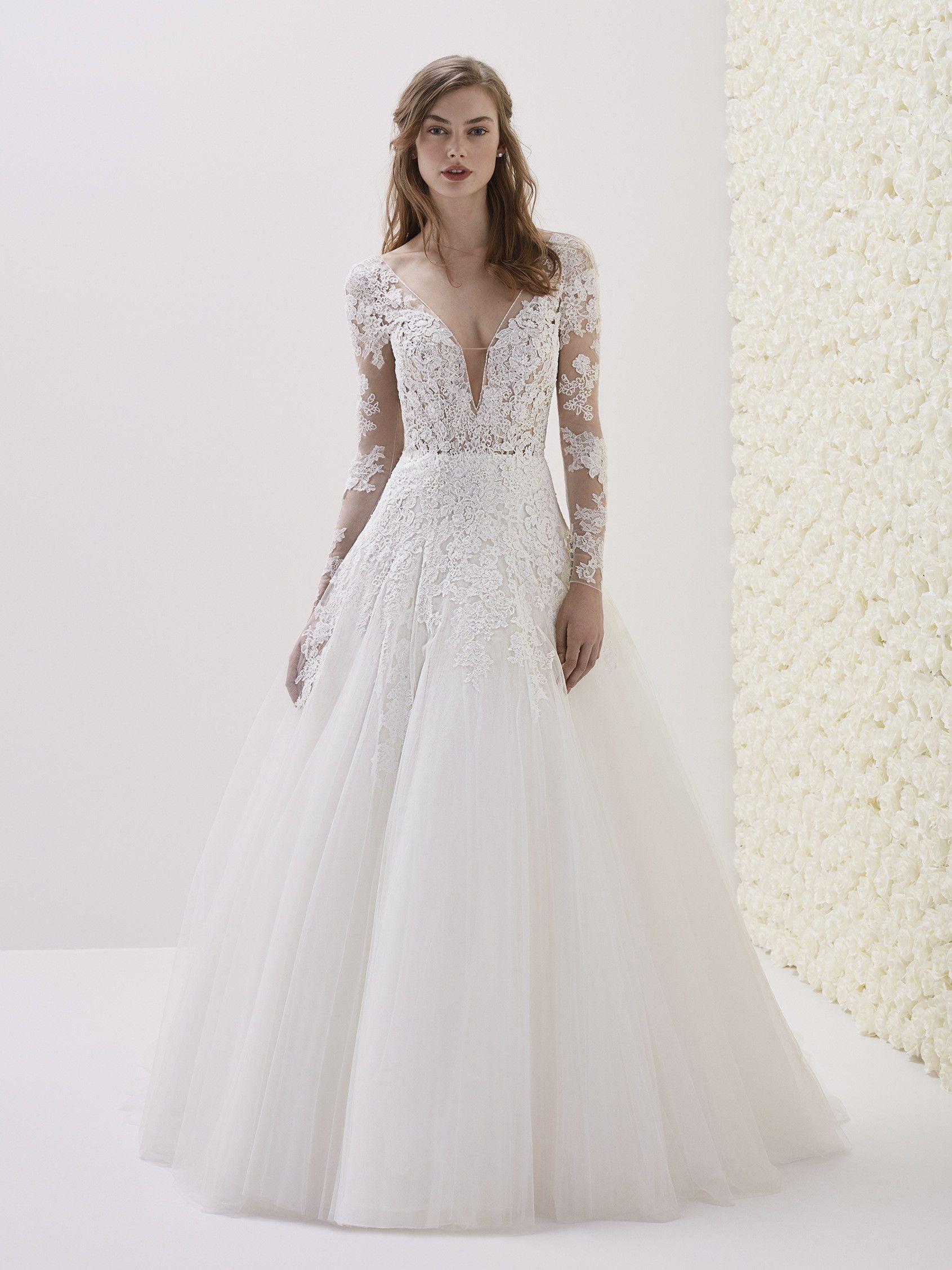 Deep Vneck Long Sleeve Lace Aline Wedding Dress on