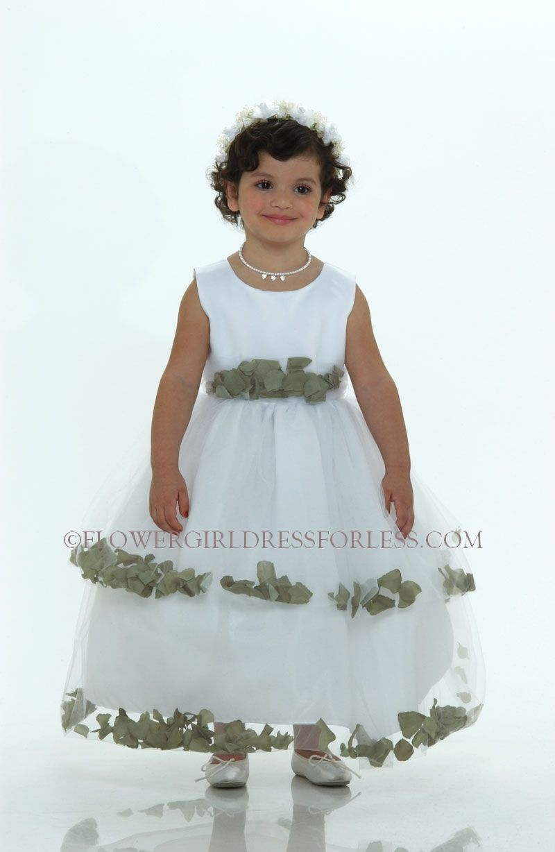 5151WG - Flower Girl Dress-5151 White Sleeveless Double Layer Satin ...