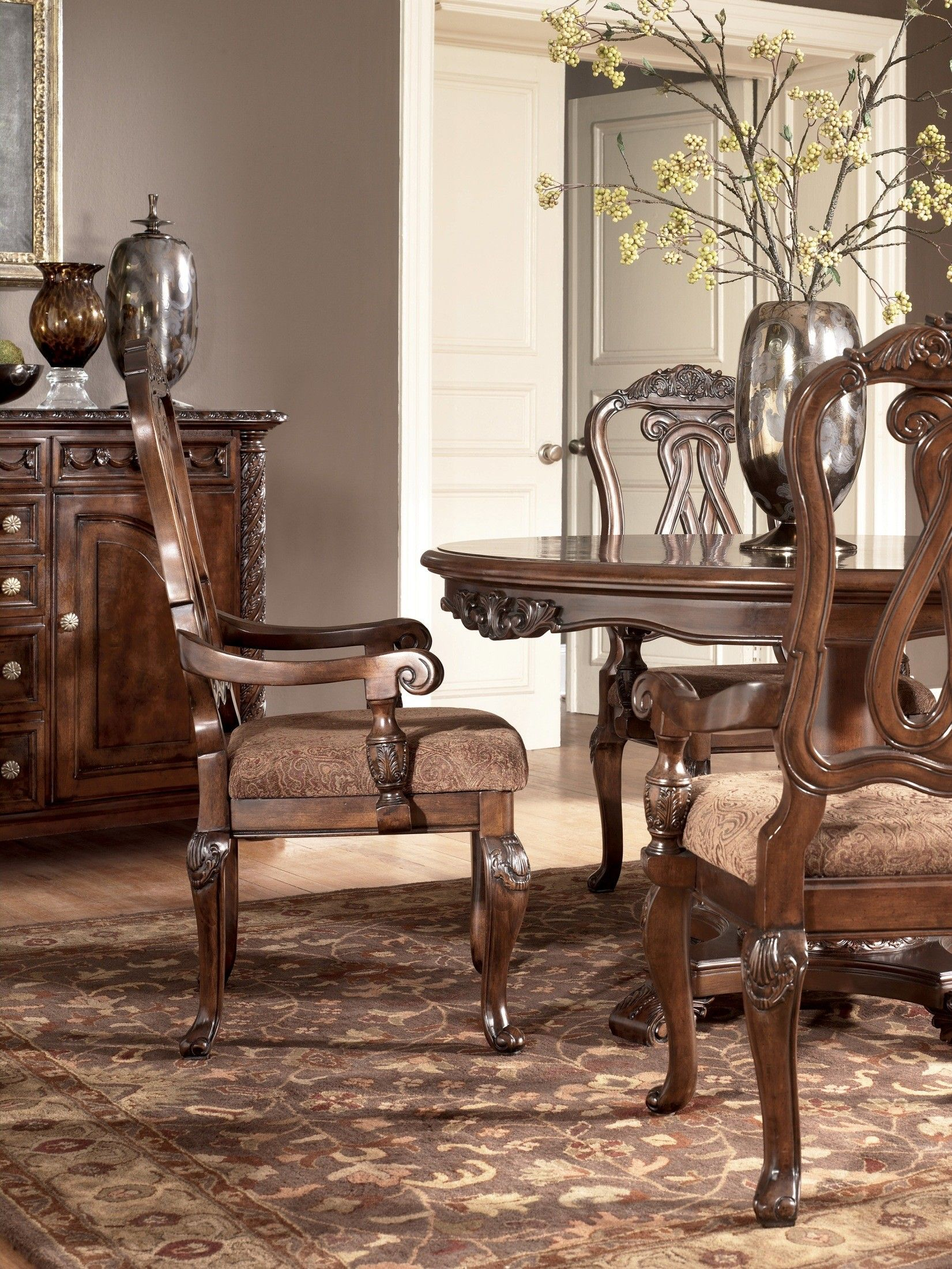 Ashley North Shore Round Pedestal Dining Room Set D553 Round Pedestal Dining Formal Dining Room Sets Dining Room Furniture Sets