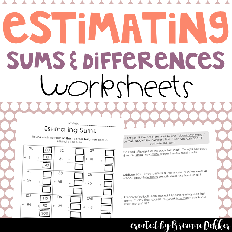 Estimating Sums Differences Worksheets Marvelous