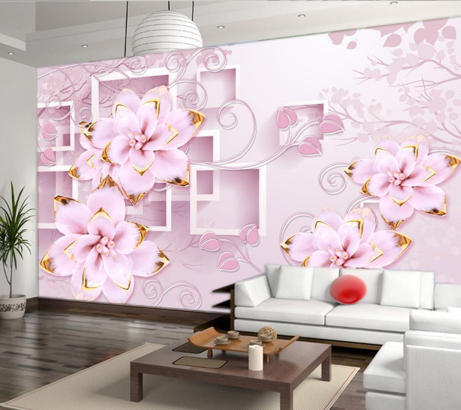 European 3d photo wallpaper mural relief flowers wallpaper for walls ...