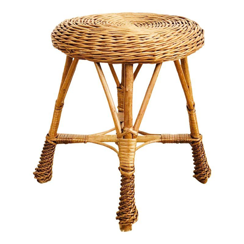 Fabulous Vintage Round Wicker Stool In 2019 Products Rattan Stool Machost Co Dining Chair Design Ideas Machostcouk