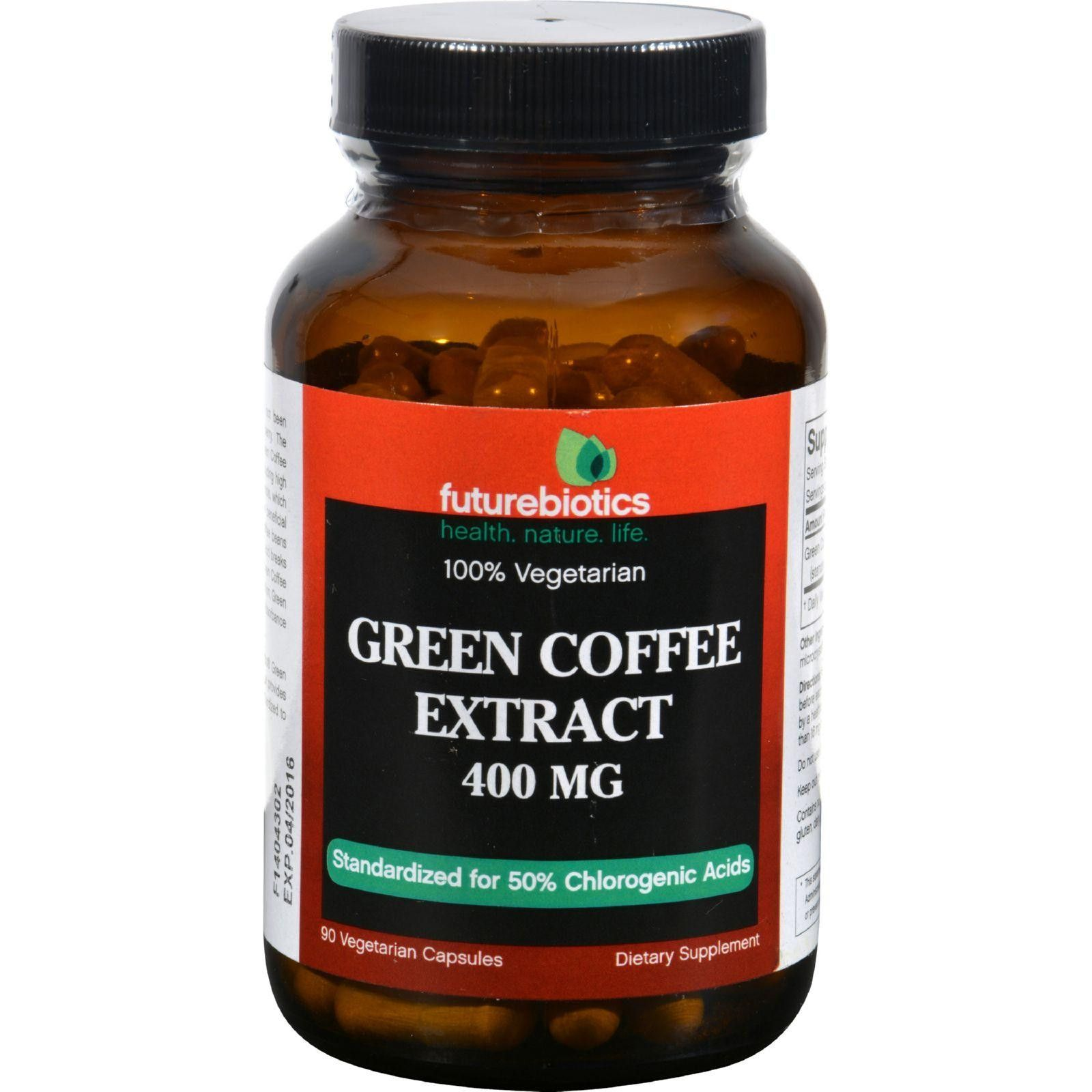 Futurebiotics Green Coffee Extract 400 Mg 90 Vegetarian Capsules Capsule Pure Arabica Organic 60 Caps