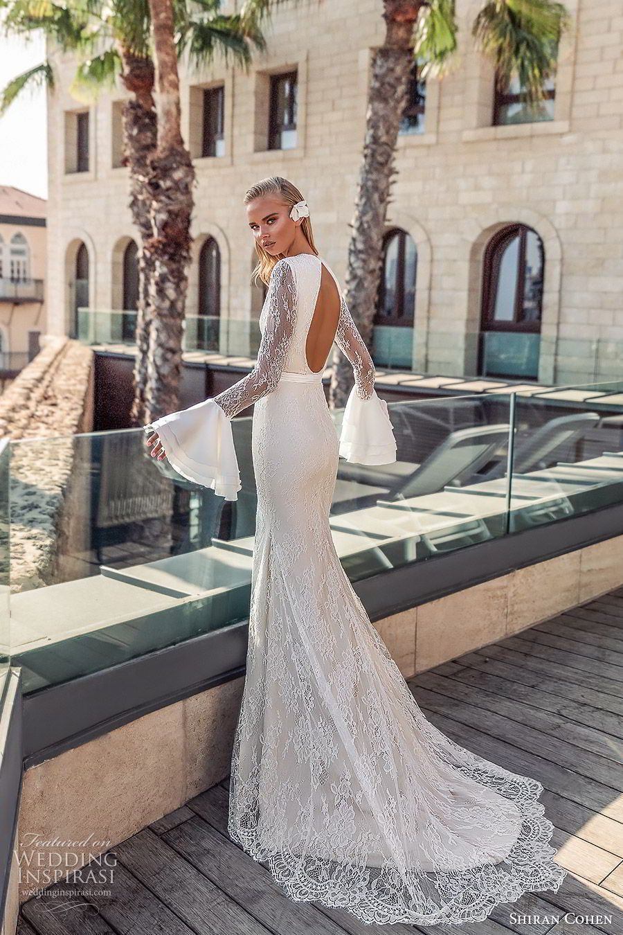 3bb5e6a46003 shiran cohen 2019 bridal long bell sleeves high neckline cutout bodice lace  sheath trumpet wedding dress chapel train open back slit skirt sexy modern  (3) ...