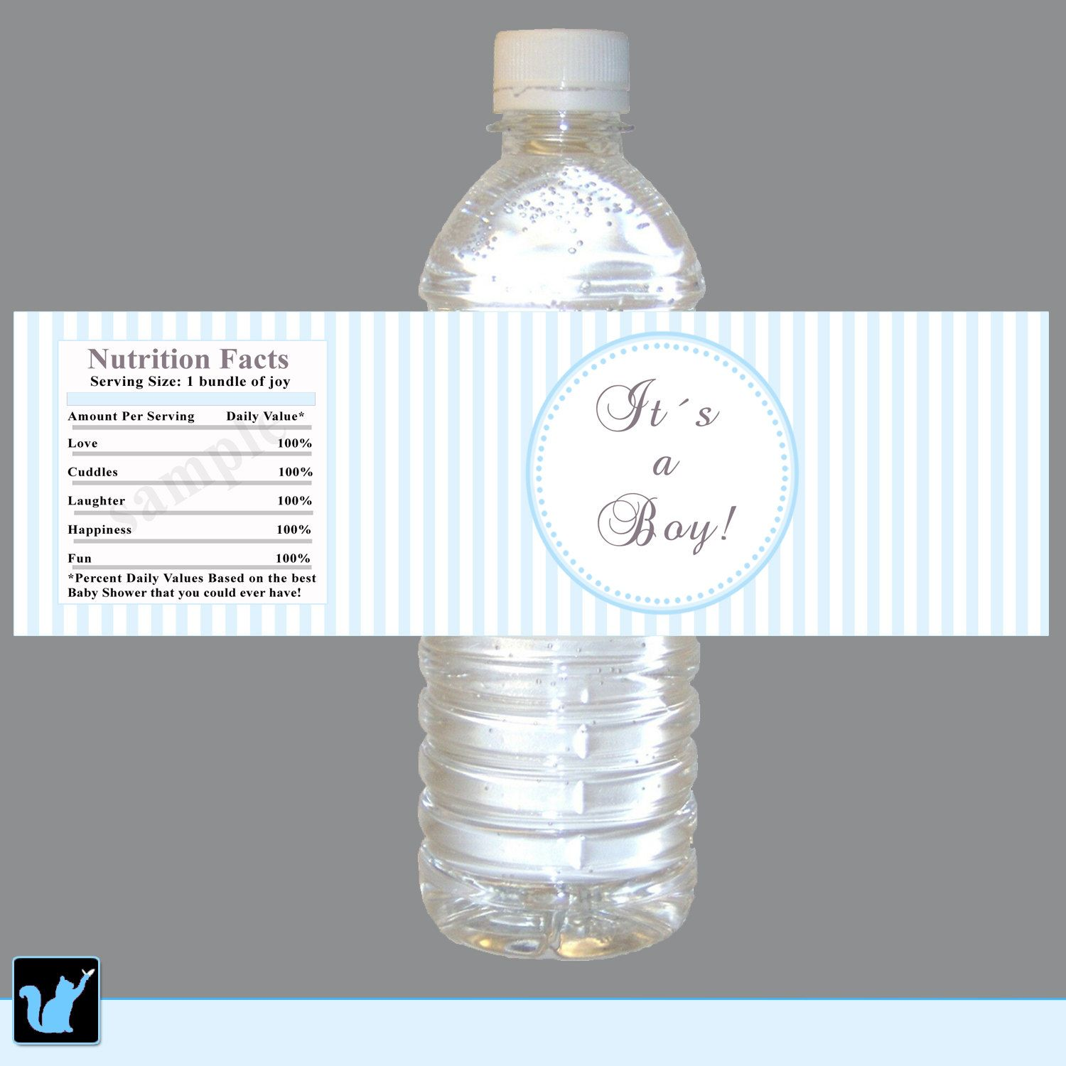 instant download blue stripes baby shower water bottle labels wrappers its a boy baby shower favors party favors baby shower decorations