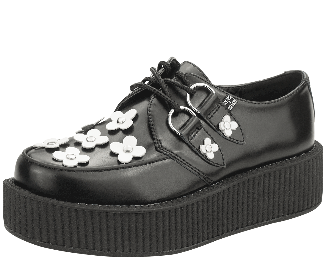 2cb075c5ede18b Black And White Leather Flower Shoes Tuk Shoes A Classic