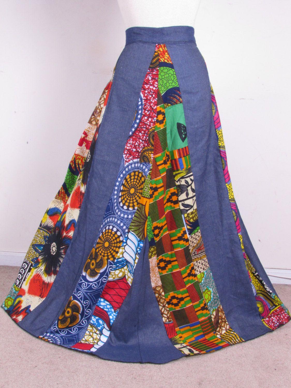 Beautiful Ethnic Gypsy Hippie Ankara Patchwork Denim Print