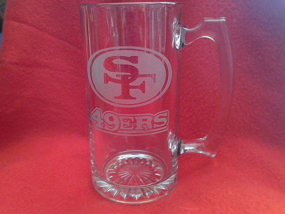 Sports Team Mugs 49ers Mugs Seattle Seahawks Etched Beer Mugs Superbowl Beer Mugs