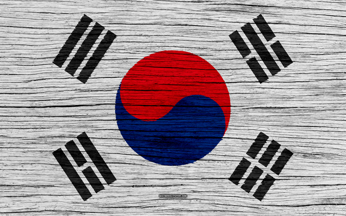 Download Wallpapers Flag Of South Korea 4k Asia Wooden Texture South Korean Flag National Symbols South Korea Flag Art South Korea Textura De Madeira Coreia Do Sul Cores