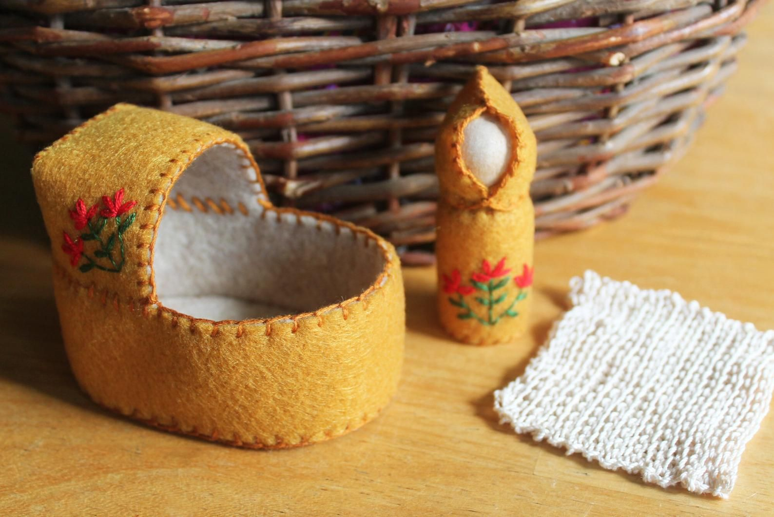 Felt Indian Paintbrush Cradle Gnome Doll Set | Etsy
