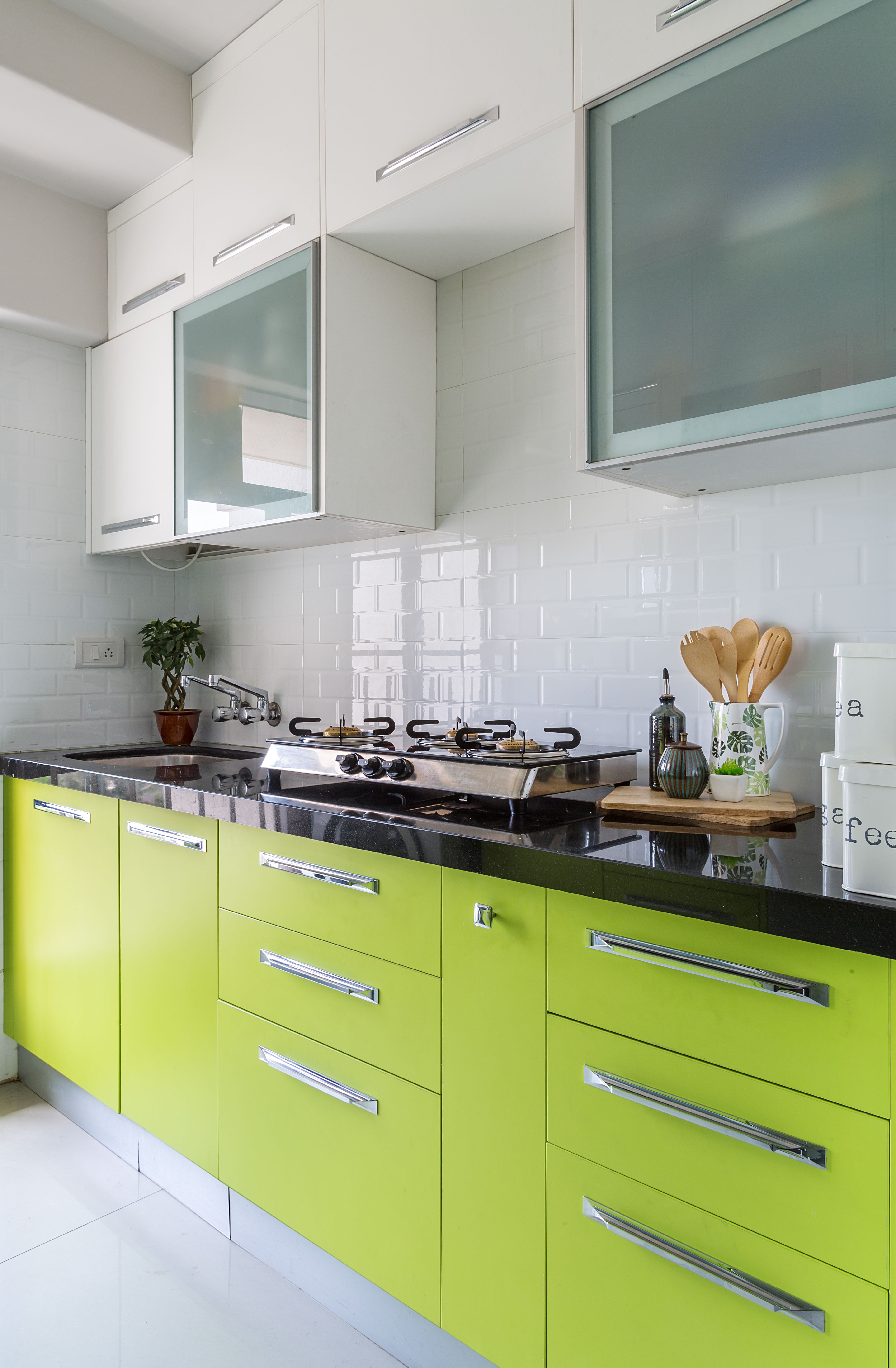 This Fresh Lime Green Modular Kitchen Is A Reminder Of Spring Even