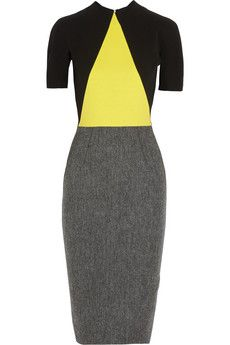 Victoria Beckham Crepe and wool-tweed dress | NET-A-PORTER - also I'd wish listed...