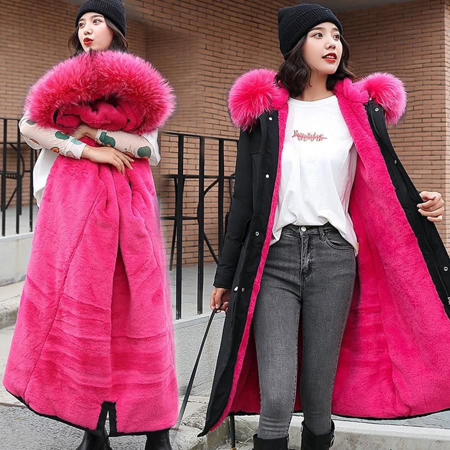winter coat women 2019 Large fur collar hooded down cotton sustans long jacket female parka outwear plus size jaquetas feminina
