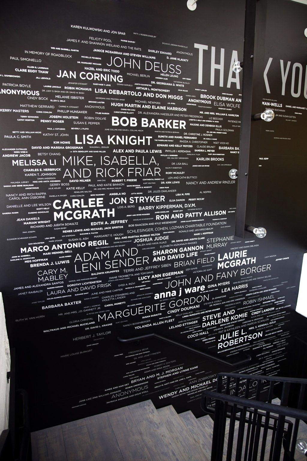 Donor Wall Sign At Peta Los Angeles USA By Lawrence Beavan Modern Interior DesignInterior