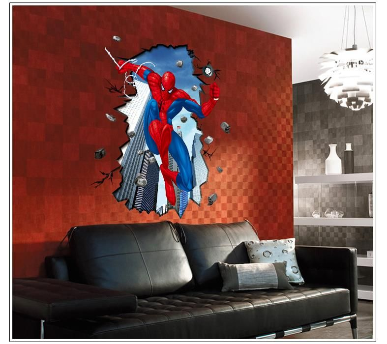 3d super heros spiderman wall stickers kids room decor film movie