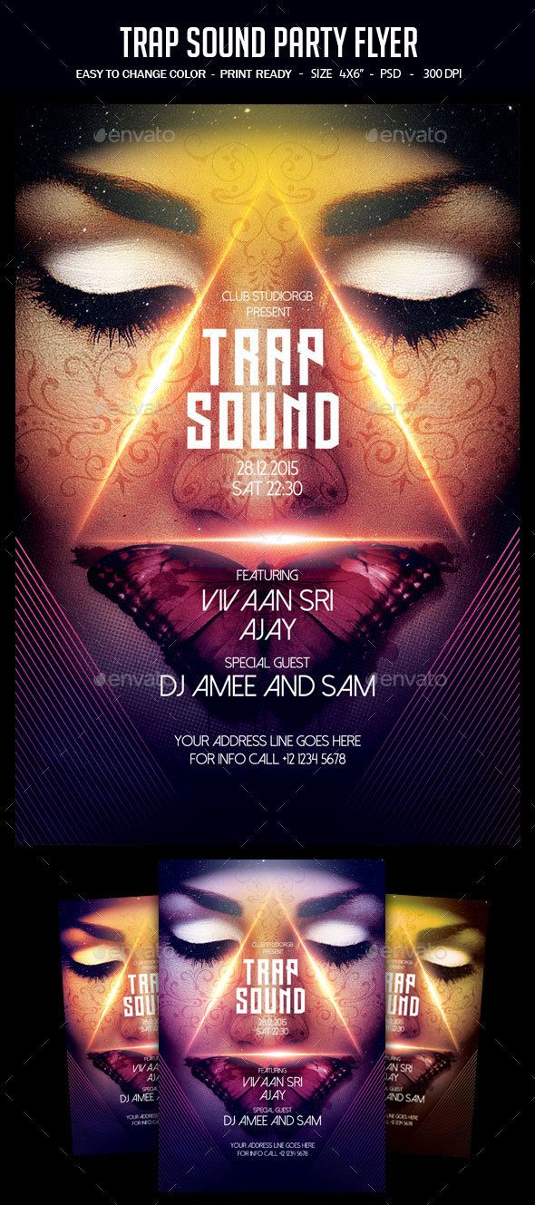 Trap Sound Party Flyer Party Flyer Flyer Design Templates And
