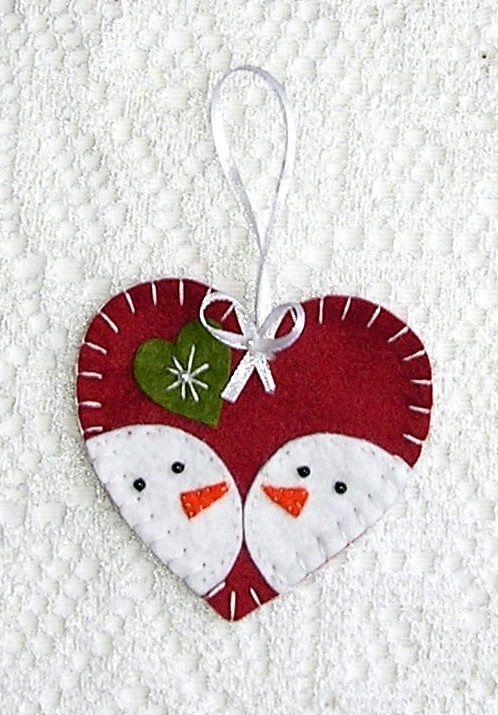 Snowman Christmas Ornaments, Snowman Heart Decor, Felt Ornaments, Christmas Tree Ornaments, Hanging Set