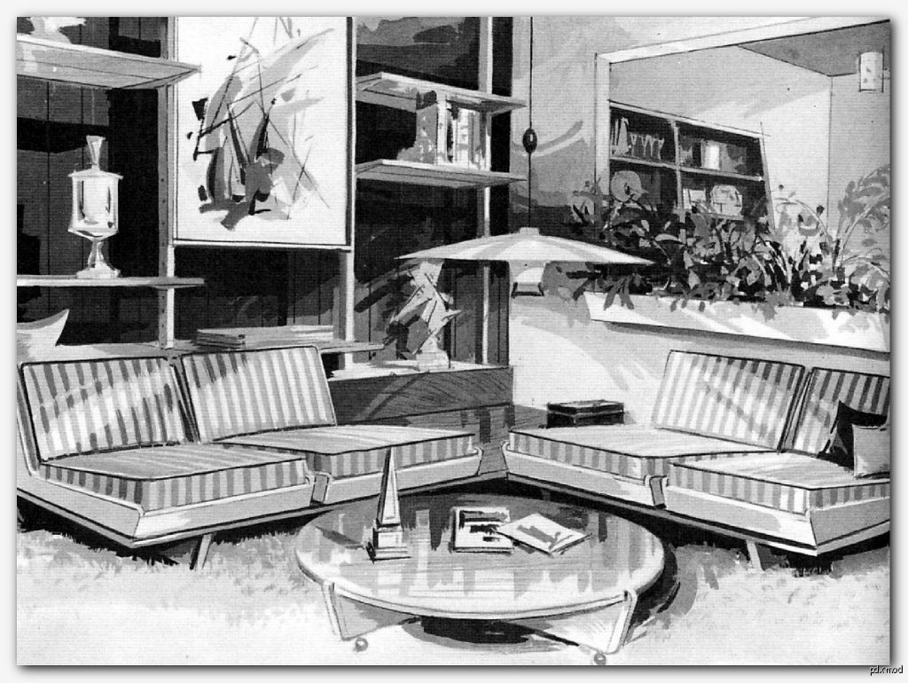 Mid-Century Living Room Illustration from Anatomy of Contemporary Furniture, 1965