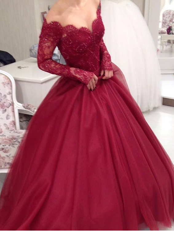 Long Sleeves Ball Gown Prom Dresses  8bf1055d7a38