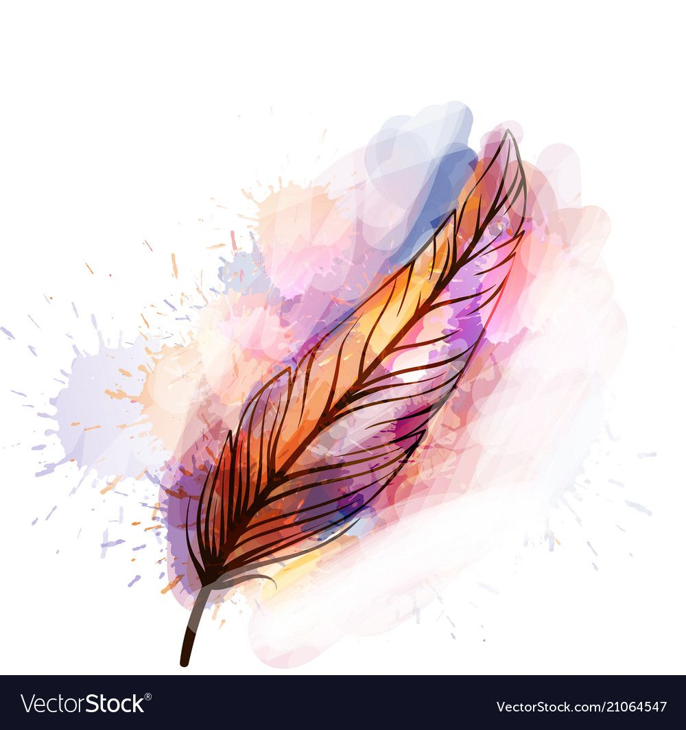 Watercolor Grunge Feather Vector Image On Aquarellbilder
