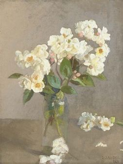 Little White Roses By George Clausen