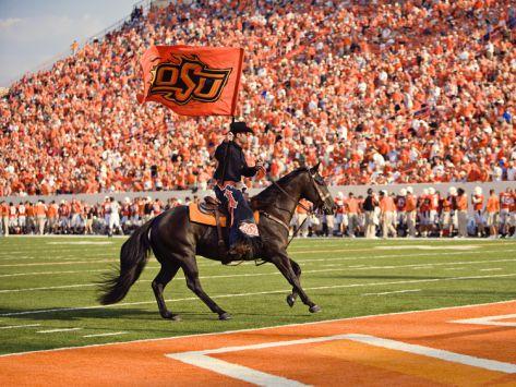 Oklahoma State University The Cowboy Enters Boone Pickens Stadium Oklahoma State University Oklahoma State Oklahoma State Cowboys