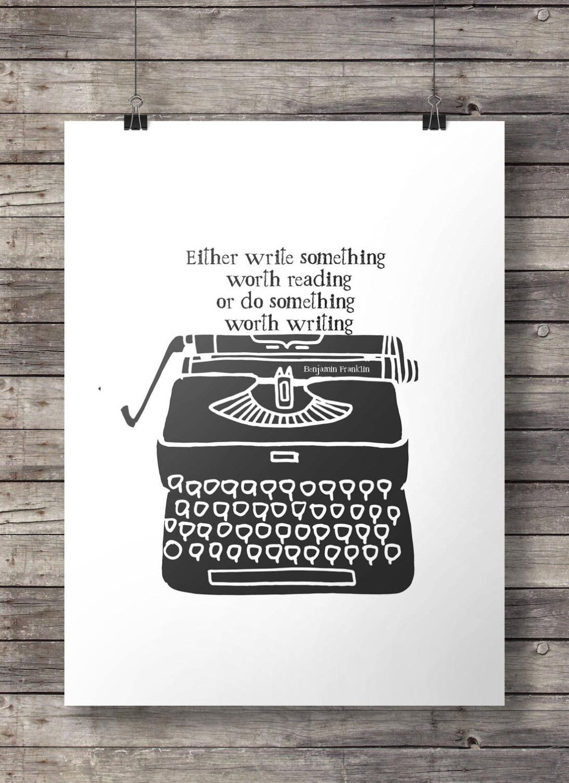 Benjamin Franklin Quote Vintage Typewriter Print Printable