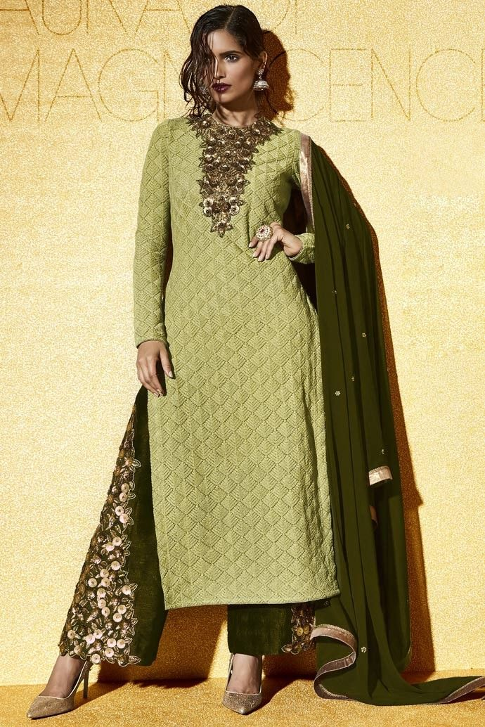 Green Net Palazzo Pant Suit With Tta Stani Wedding Trend